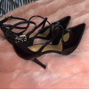 Chocolate brown patent Zara court shoes